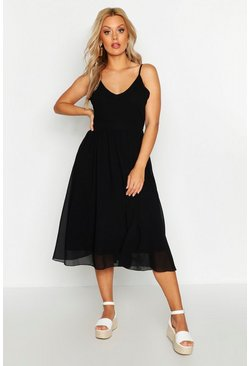 Womens Black Plus V Neck Skater Midi Dress