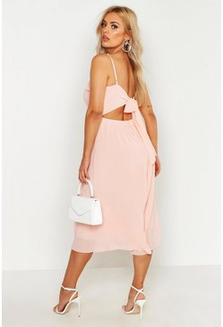 Blush Plus V Neck Skater Midi Dress