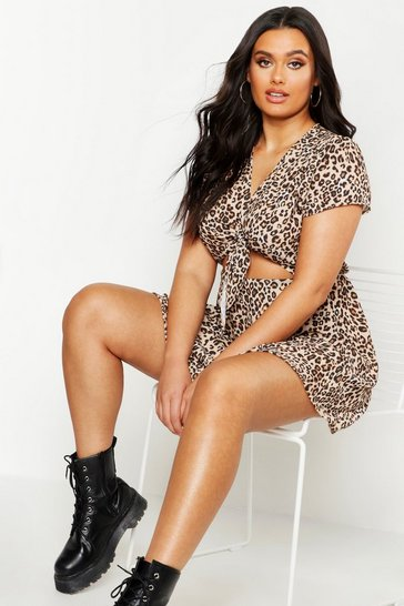Brown Plus Leopard Tie Front Skater Dress