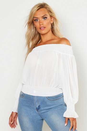 Womens Ivory Plus Off Shoulder Top