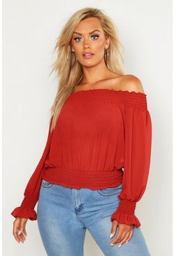 Womens Rust Plus Off Shoulder Top