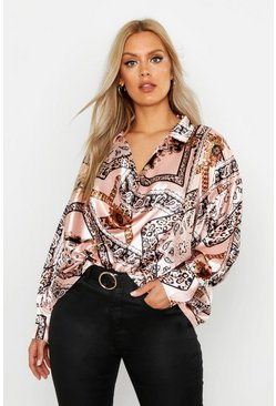 Womens Nude Plus Satin Chain Print Cowl Neck Shirt