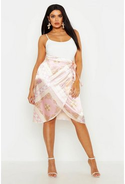 Womens Pink Plus Satin Scarf Print Wrap Tie Midi Skirt