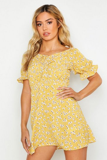 Womens Mustard Petite Ruched Off The Shoulder Dress