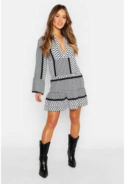 Womens Black Petite Tribal Smock Dress