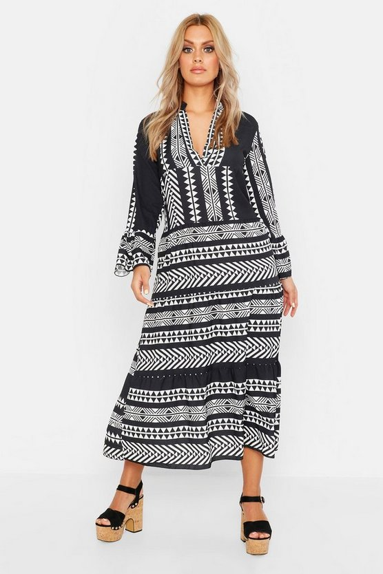 Black Plus Aztec Smock Maxi Dress