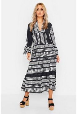 Womens Black Plus Aztec Smock Maxi Dress
