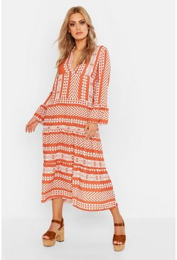 Womens Rust Plus Aztec Smock Maxi Dress