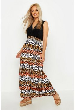 Womens Black Plus Tiger Plunge Slinky Maxi Dress