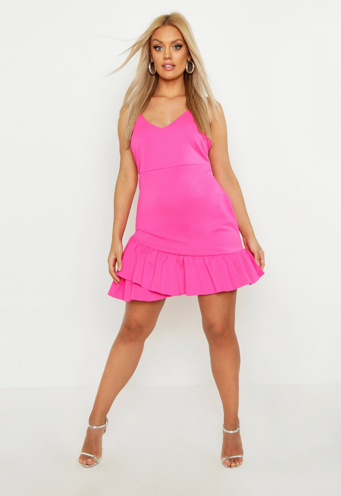Plus Strappy Ruffle Hem Skater Dress by Boohoo