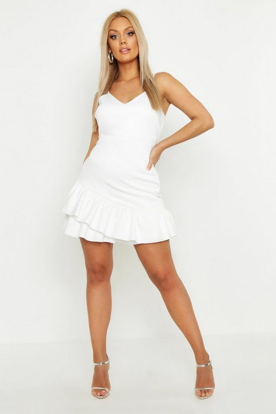 White Plus Strappy Ruffle Hem Skater Dress