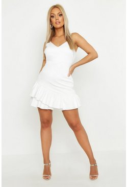 Womens White Plus Strappy Ruffle Hem Skater Dress