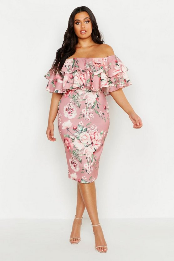Womens Rose Plus Off Shoulder Floral Ruffle Midi Dress