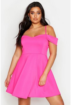 Hot pink Plus Open Shoulder Skater Dress