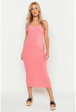 Womens Coral Plus Seamed Cup Rib Midaxi Dress