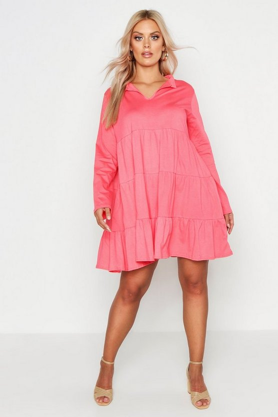 Womens Coral Plus Cotton Ruffle Smock Dress