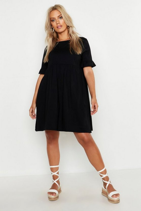 Womens Black Plus Ruffle Cotton Smock Dress