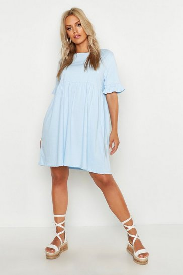 Womens Sky Plus Ruffle Cotton Smock Dress