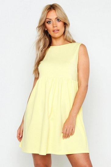 Womens Yellow Plus Sleeveless Smock Dress