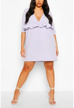 Lilac Plus Ruffle Plunge Smock Dress