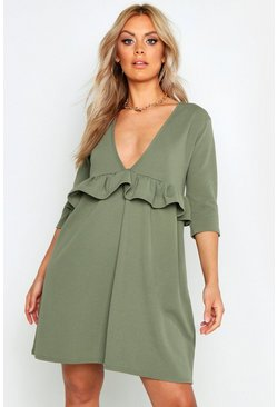 Womens Sage Plus Ruffle Plunge Smock Dress