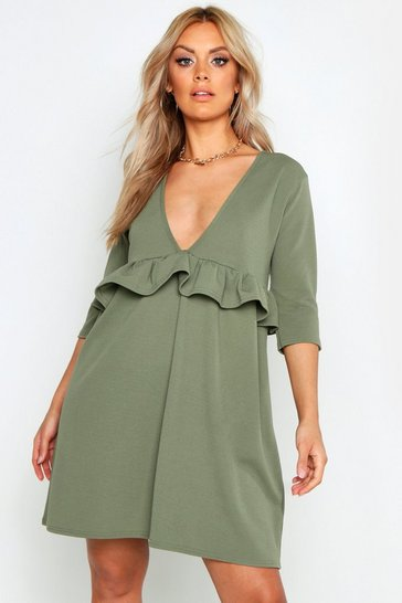 Sage Plus Ruffle Plunge Smock Dress