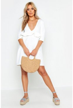 White Plus Ruffle Plunge Smock Dress