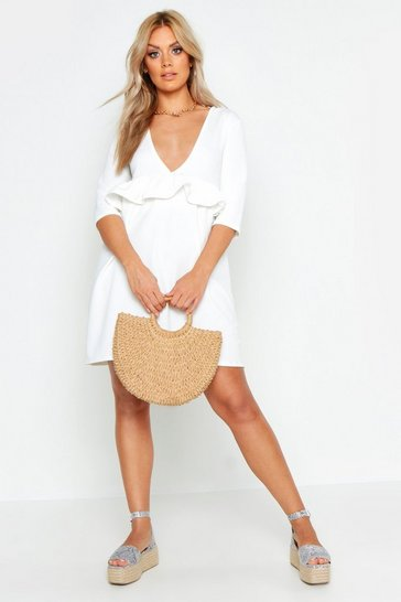 Womens White Plus Ruffle Plunge Smock Dress