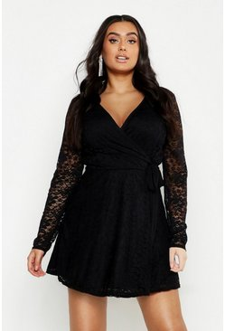 Womens Black Plus Lace Wrap Tie Side Skater Dress