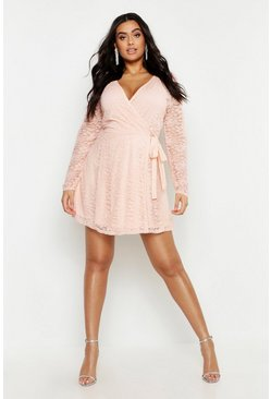 Light pink Plus Lace Wrap Tie Side Skater Dress