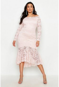 Womens Light pink Plus Lace Bardot Ruffle Hem Midi Dress