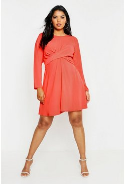 Womens Coral Plus Wrap Front Woven Skater Dress
