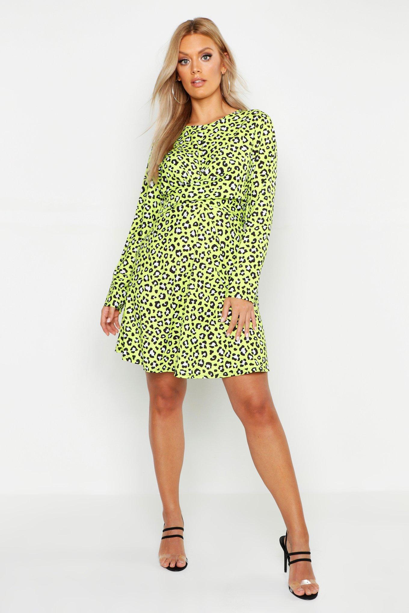 Plus Leopard Neon Wrap Front Skater Dress