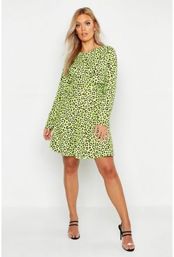 Womens Lime Plus Leopard Neon Wrap Front Skater Dress
