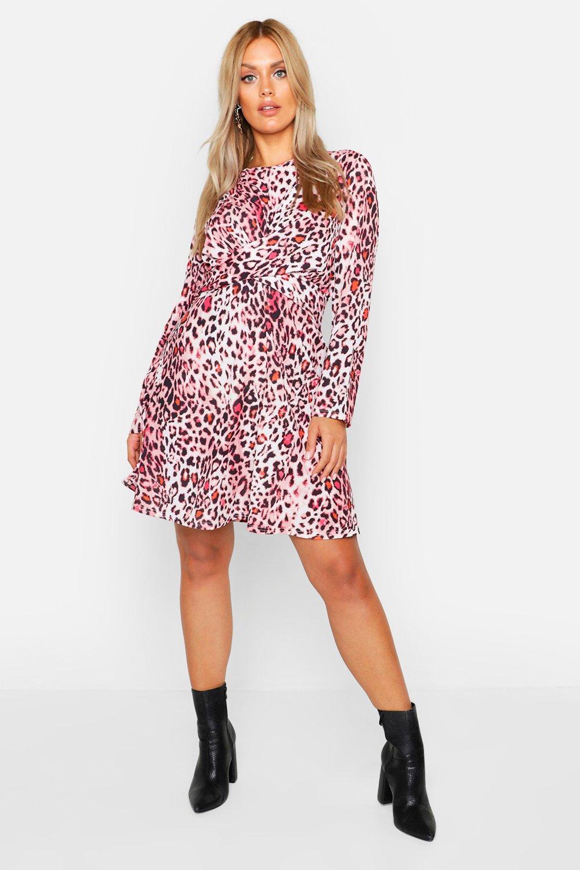 Plus Wrap Front Woven Animal Skater Dress
