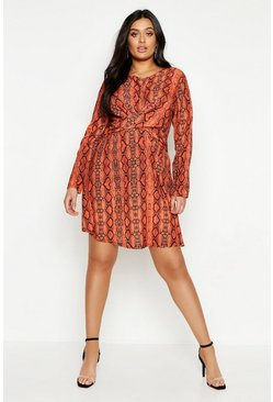 Womens Orange Plus Snake Wrap Front Woven Skater Dress
