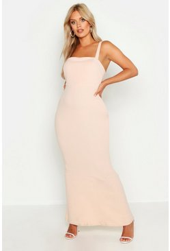 Plus Robe maxi gainante à encolure carrée, Blush, Femme