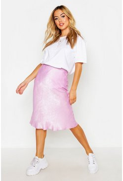 Womens Lilac Petite Satin Bias Cut Midi Skirt