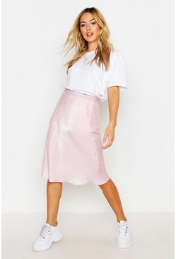Womens Pale pink Petite Satin Bias Cut Midi Skirt