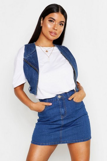 Womens Mid blue Petite Stretch Denim Mini Skirt