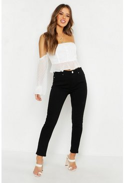 Womens Black Petite High Rise Skinny Jean