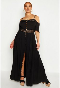 Womens Black Plus Embroidered Lace Open Shoulder Midi Dress