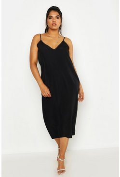 Womens Black Plus Woven Cami Midi Dress