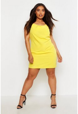 Womens Yellow Plus Cowl Neck Woven Slip Dress