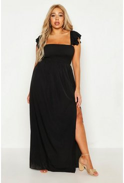 Womens Black Plus Woven Sheered Flutter Sleeve Maxi Dress