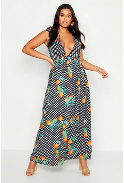 Womens Navy Plus Orange Polka Dot Tie Sleeve Maxi Dress