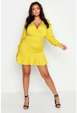 Womens Yellow Plus Shirred Frill Hem Dress