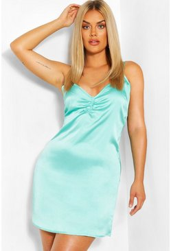 Turquoise Plus Woven Notch Front Slip Dress