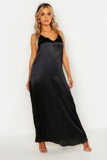 Womens Black Plus Woven V Neck Maxi Dress With Headscarf