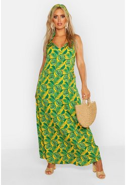 Womens Mustard Plus Woven Palm V Neck Maxi Dress With Headscarf